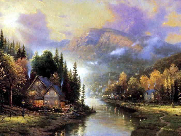 Thomas Kinkade Log Cabin Painting