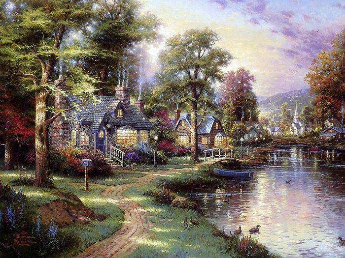 Thomas Kinkade paintings reproductions of paintings on canvas