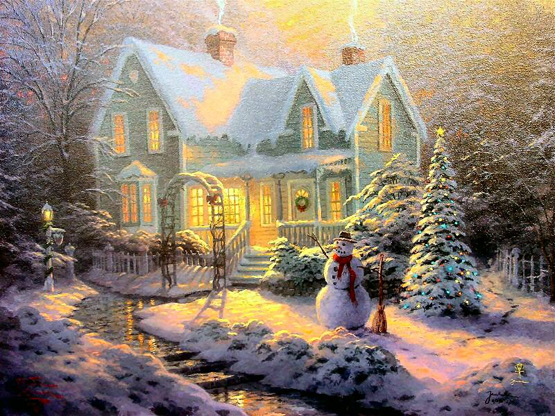 Thomas Kinkade Blessings of Christmas Reproductions of paintings