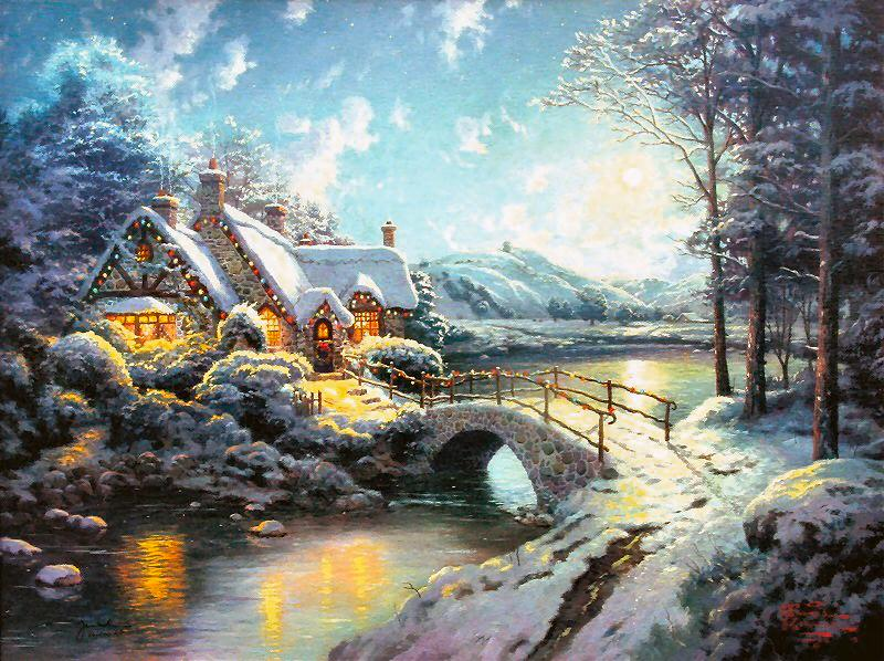 Reproductions Thomas oil painting on canvas Christmas Moonlight