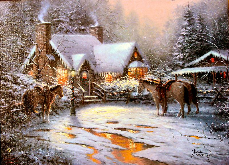 Reproductions painting A Christmas Welcome Christmas Cottage VII