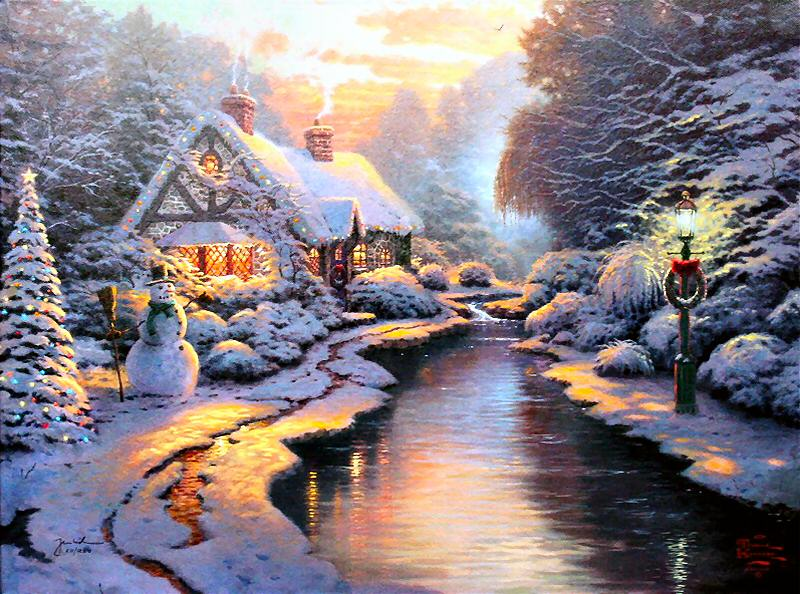 Reproductions Thomas oil painting on canvas Christmas Evening
