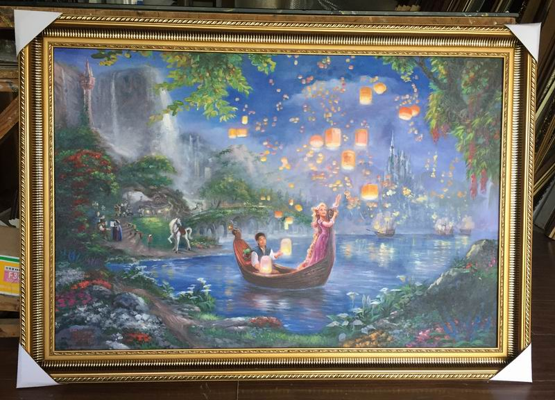 Framed oil painting reproductions Thomas Kinkade's Tangled