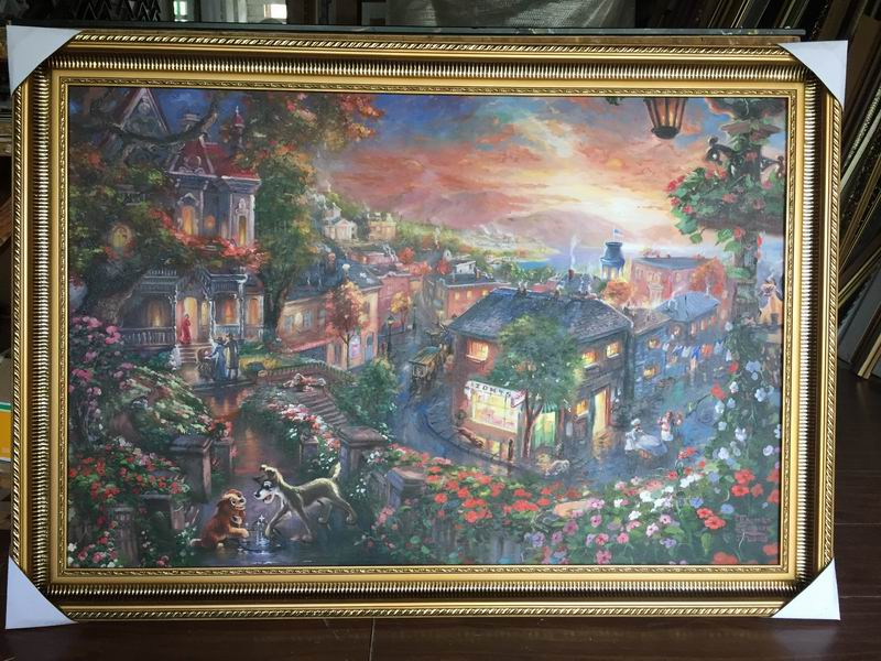 Framed paintings Reproductions Thomas Kinkade Lady and the Tramp