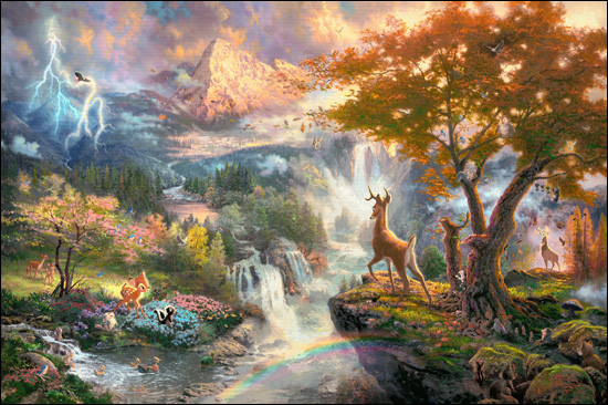 Reproductions of Thomas Kinkade's painting, Bambi's First Year
