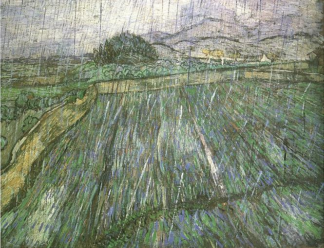 Van gogh oil painting artwork Wheat Field in Rain