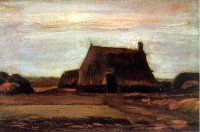 Van Gogh paintings artwork Farmhouse with Peat Stacks